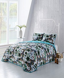 Havana 3-Pc. Queen Tropical Reversible Quilt Set