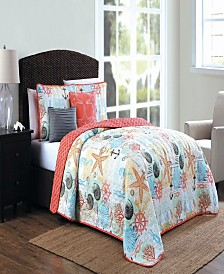 Belize Coastal Print 4pc Twin Reversible Quilt Set
