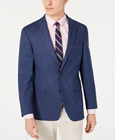 Tommy Hilfiger Men's Modern-Fit THFlex Stretch Blue/Red Check Sport Coat