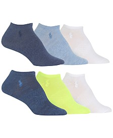 Polo Ralph Lauren 6 Pack Multi Patterned Arch Support Low Cut Socks