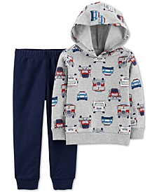 2-Pc. Baby Boys Cotton Firetruck-Print Hoodie & Jogger Pants Set