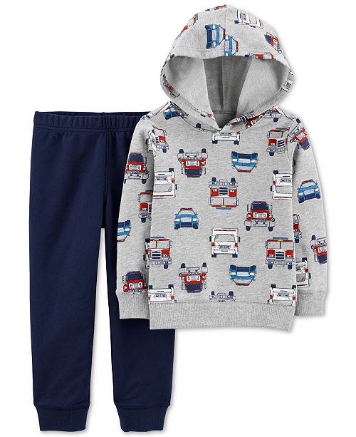 Carter's Toddler Boys 2-Pc. Cotton Firetruck-Print Hoodie & Jogger Pants Set