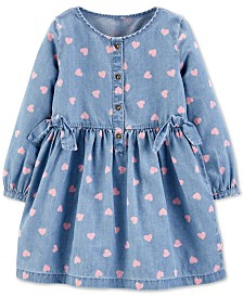 Carter's Toddler Girls Chambray Heart-Print Dress