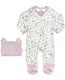 Baby Girls 2-Pc. Cotton Bambi Footed Coverall & Hat Set