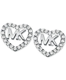 Sterling Silver Crystal Heart Logo Stud Earrings
