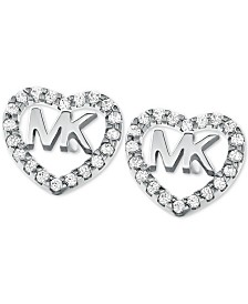 Michael Kors Sterling Silver Crystal Heart Logo Stud Earrings