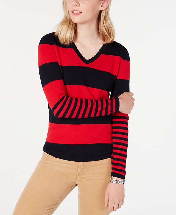 Tommy Hilfiger Ivy Striped V-Neck Sweater, Created for Macy's