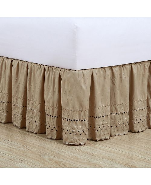California King Bed Skirt.Ruffled Eyelet California King Bed Skirt