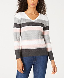 Jackie Striped Cable-Knit Sweater, Created for Macy's