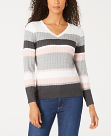 Karen Scott Jackie Striped Cable-Knit Sweater, Created for Macy's