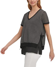 DKNY Striped Step-Hem Top