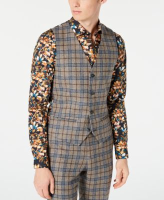 Men's Slim-Fit Plaid Vest Made With Recycled Wool
