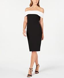 Calvin Klein Petite Off-The-Shoulder Fold-Over Dress