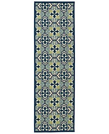 "A Breath of Fresh Air FSR104-17 Blue 2'6"" x 7'10"" Runner Rug"