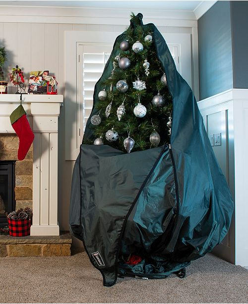 Christmas Tree Storage Bag.Decorated Upright Tree Storage Bag W Rolling Tree Stand