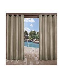 """Exclusive Home Biscayne Indoor/Outdoor Grommet Top 54"""" X 120"""" Curtain Panel Pair"""