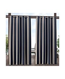"Exclusive Home Canopy Stripe Indoor/Outdoor Grommet Top 54"" X 84"" Curtain Panel Pair"