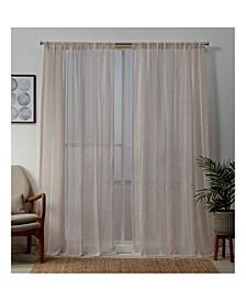 "Santos Embellished Sheer Rod Pocket Top Curtain Panel Pair, 54"" x 84"""