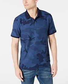 DKNY Men's Stretch Performance Camo-Print Piqué Polo Shirt