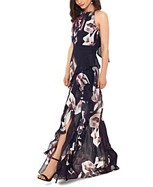 Pleated Floral-Print Gown