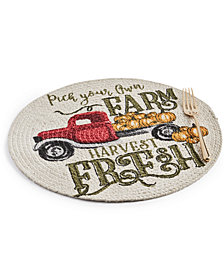 Elrene Harvest Farm Truck Braided Round Placemat