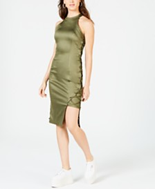 La La Anthony Sleeveless Lace-Up Dress