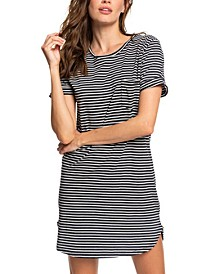 Juniors' Cotton Striped T-Shirt Dress