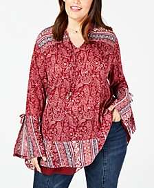Plus Size Mystic Paisley Bell-Sleeve Top, Created for Macy's