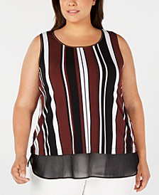 Plus Size Sleeveless Printed Sheer-Hem Top, Created for Macy's