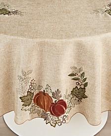 "Elrene Harvest Wreath 70"" Round Tablecloth"