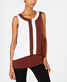 Alfani Colorblocked-Overlay Top, Created for Macy's