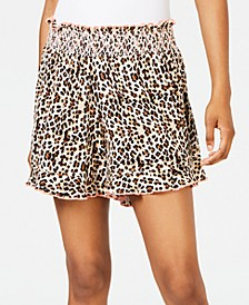 Juniors' Animal-Print Smocked Cover-up Shorts, Created for Macy's