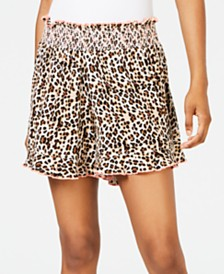 Miken Juniors' Animal-Print Smocked Cover-up Shorts, Created for Macy's