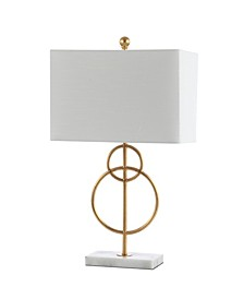 "Haines 26"" Modern Circle Marble/Metal LED Table Lamp"