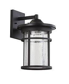 "JONATHAN Y Porto 14"" Outdoor Wall Lantern Crackled Glass/Metal Integrated LED Sconce"