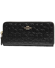 COACH Signature Embossed Leather Slim Accordion Wallet