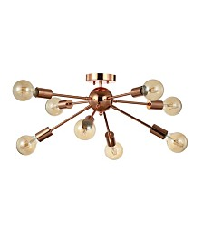"JONATHAN Y Copper 30.5"" 8-Light Sputnik Metal LED Flush-Mount"