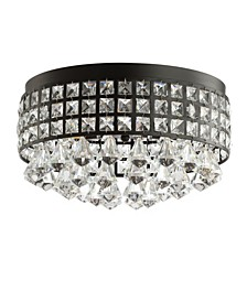 "Meredith 14.5"" 3-Light Crystal Drops/Metal LED Flush Mount"