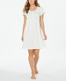 Miss Elaine Knit Floral-Print Lace-Trim Nightgown