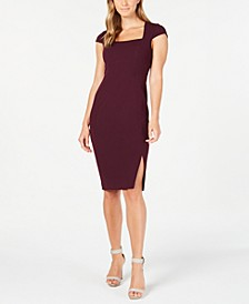 Square-Neck Slit Sheath Dress
