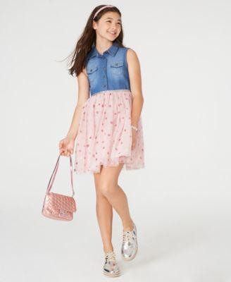 Big Girls Denim & Star-Print Mesh Dress