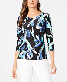 JM Collection Petite 3/4-Sleeve Printed Jacquard Top, Created for Macy's