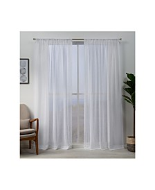 "Exclusive Home Hemstitch Sheer Embellished Rod Pocket Top 54"" X 84"" Curtain Panel Pair"