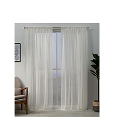 "Hemstitch Sheer Embellished Rod Pocket Top Curtain Panel Pair, 54"" x 96"""