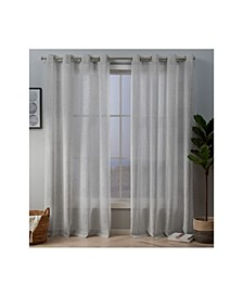 "Crest Stripe Embellished Sheer Grommet Top 54"" X 96"" Curtain Panel Pair"