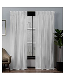 "Loha Linen Button Top Window 32"" X 96"" Curtain Panel Pair"