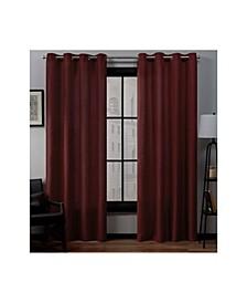 Loha Linen Grommet Top Window Curtain Panel Pair