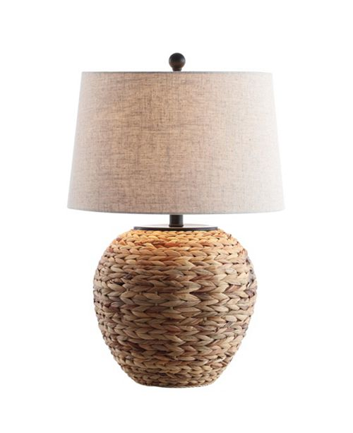 "JONATHAN Y Alaro 24.5"" Banana Leaf Basket LED Table Lamp"