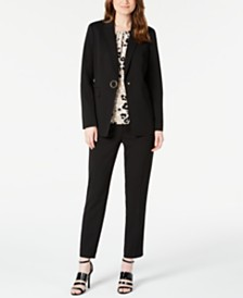 Calvin Klein One-Button Jacket, Printed Pleat-Neck Top & Straight-Leg Pants