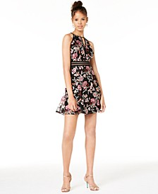 Juniors' Embroidered Illusion Fit & Flare Dress